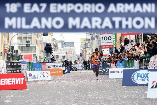 Gian Mattia D'Alberto / lapresse08-04-2018 MilanosportMilano Marathonnella foto:  ABDIWAK TURA SEIFU ETH, vincitoreGian Mattia D'Alberto / lapresse2018-04-08 MilanMilano Marathonin the photo:  ABDIWAK TURA SEIFU ETH, the winner