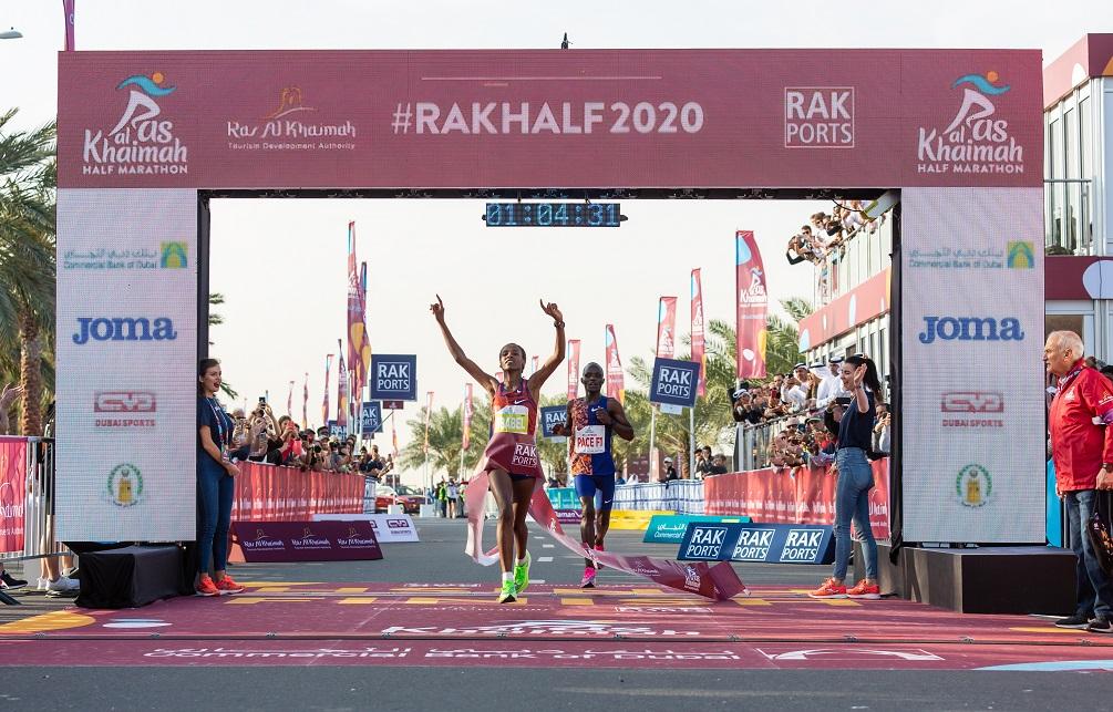 Ababel Yeshaneh and Kibiwott Kandie claim victory at record-breaking 2020 Ras Al Khaimah half marathon